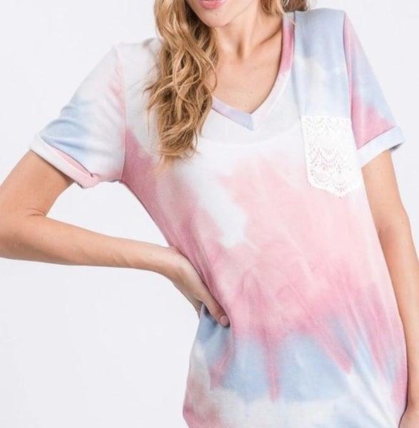 Abi's Tie Dye Lace Pocket T -Shirt