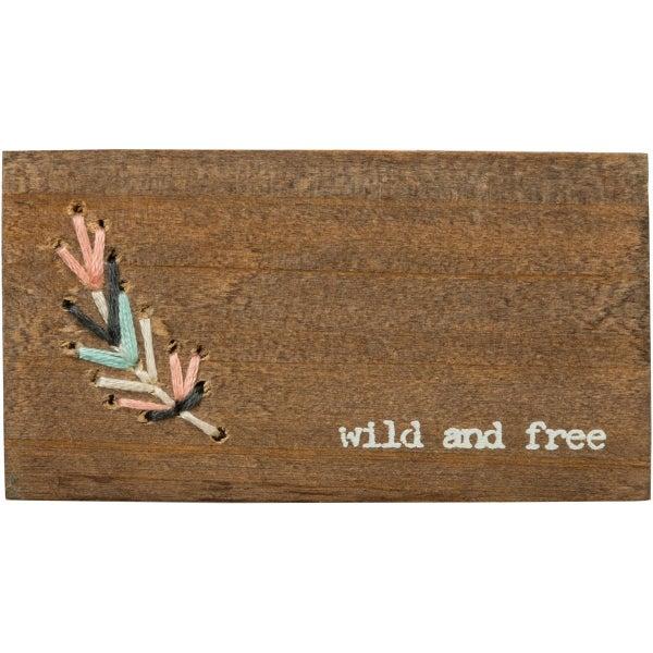 """Wild & Free"" Stitched Block Magnet"