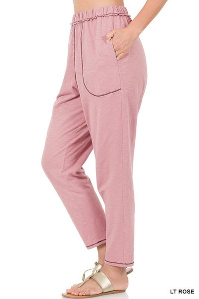 CONTRAST STITCH LOUNGE PANTS WITH POCKETS
