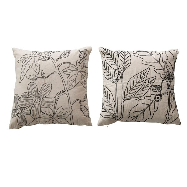 """18"""" Square Cotton Pillow with Botanical Embroidery- ASSORTED"""