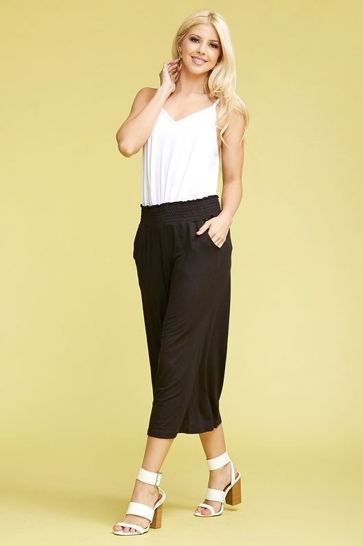 Smocked Waist Gaucho Pants