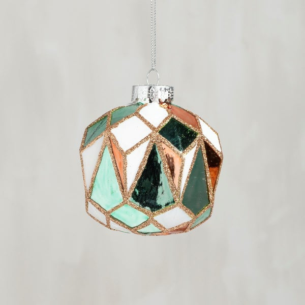 Glass Ornament - Faceted Multi