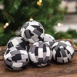 White and Black Buffalo Check Balls (6/Set)