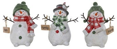 Resin Snowman With Sign
