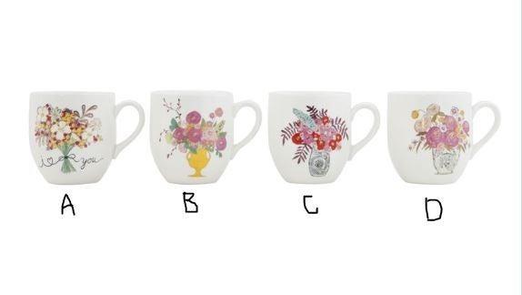 16 oz. Stoneware Mug w/ Flowers