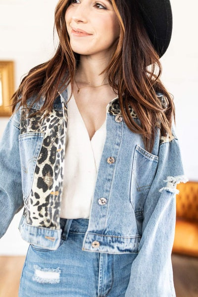 Distressed Cropped Jean Jacket with Leopard Patch