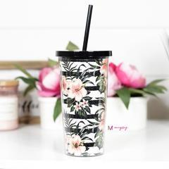 Tropical Floral Tumbler with Straw