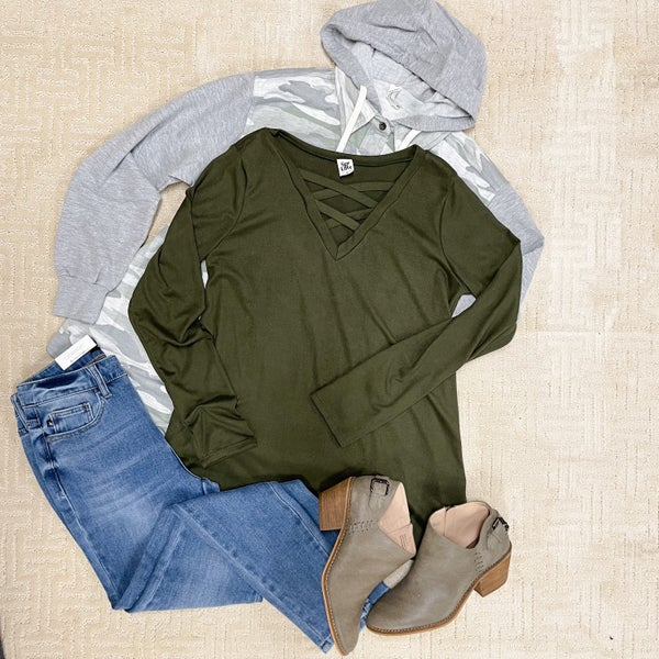 Olive Vneck Casual Top
