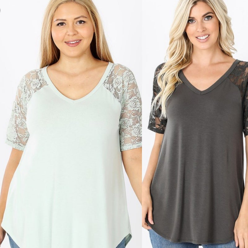 Lace Sleeves Vneck Tshirt