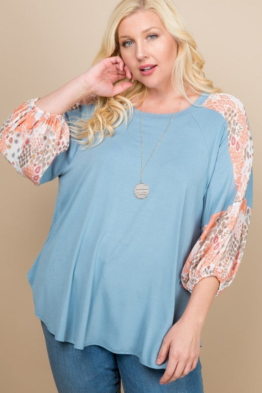 Plus Floral Chiffon Printed Balloon Sleeves Top