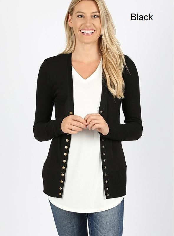 Black Button Front Snap Cardigan