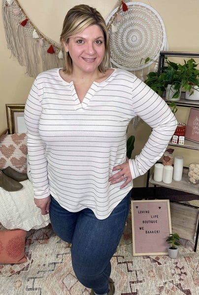 Ivory and Black Striped Long Sleeve Top
