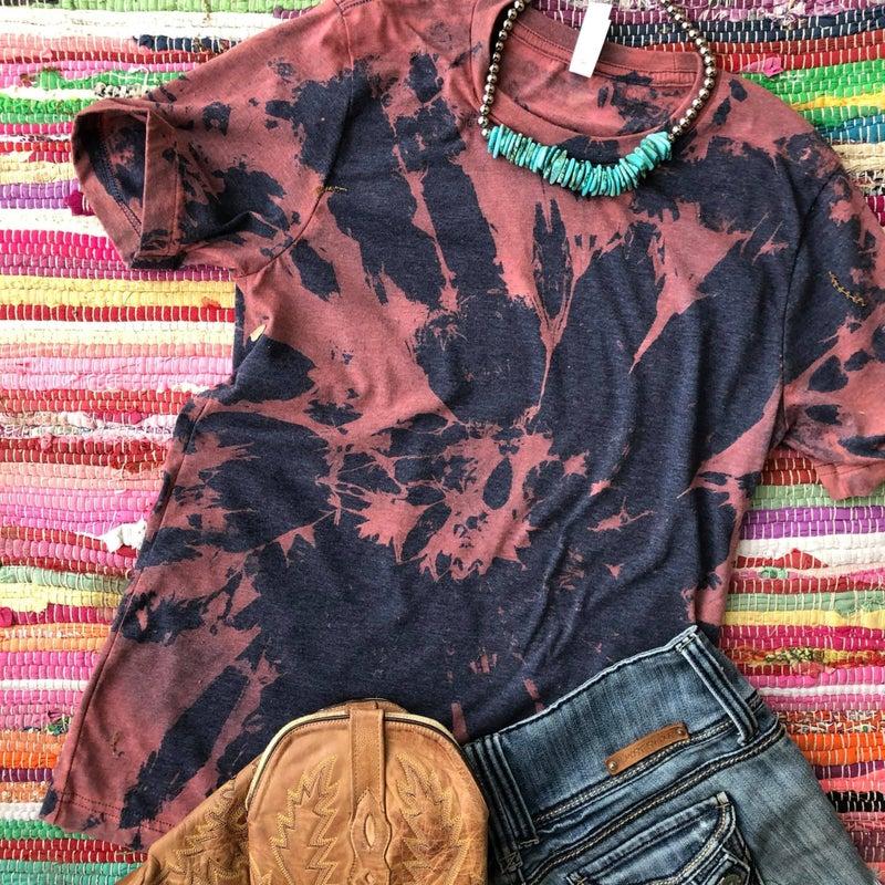 Navy & Rust Tie Dye T-shirt