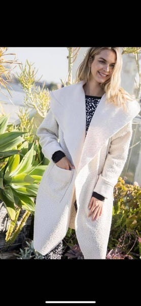 Ivory Sheep Feather Open Front Coat