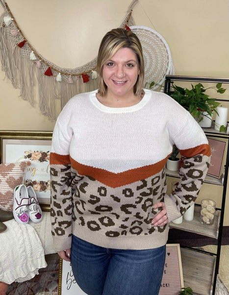 Chevron Leopard Rust Sweater *Final Sale*
