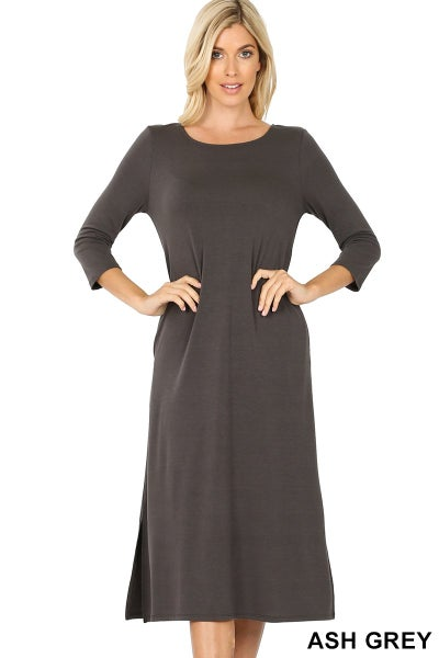 MID LENGTH DRESS WITH SIDE POCKETS