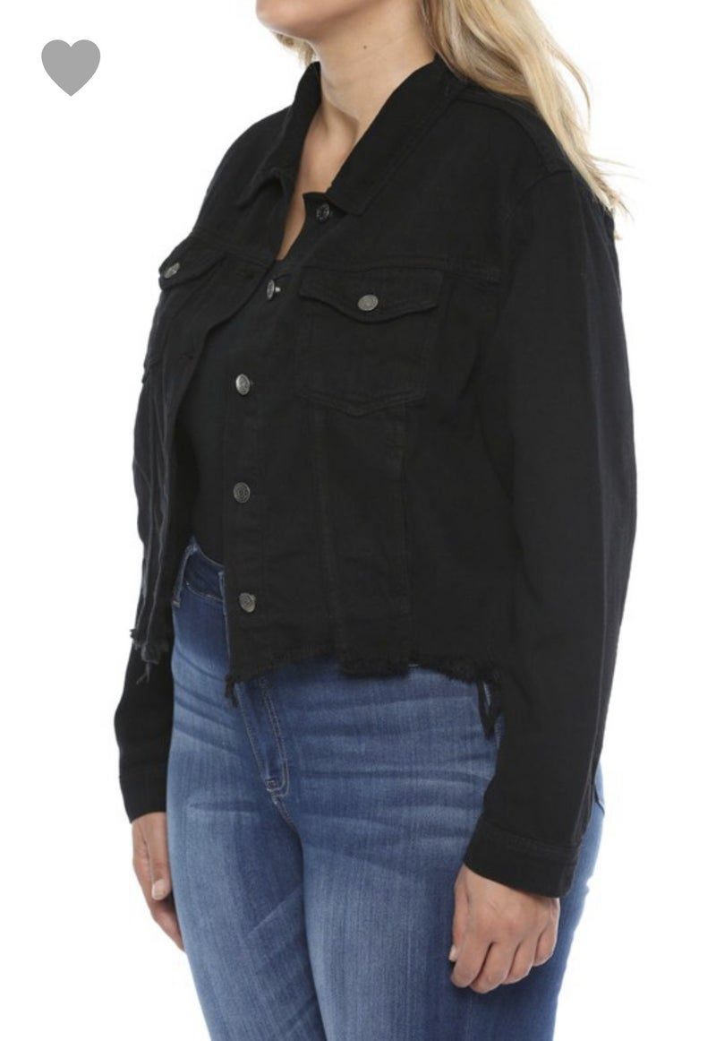 Distressed Cropped Black Jean Jacket