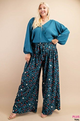 Teal Wide Leg Pants