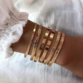 Gold Cuff Bracelet Stack