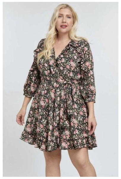 Floral Print Fringe Wrap Dress