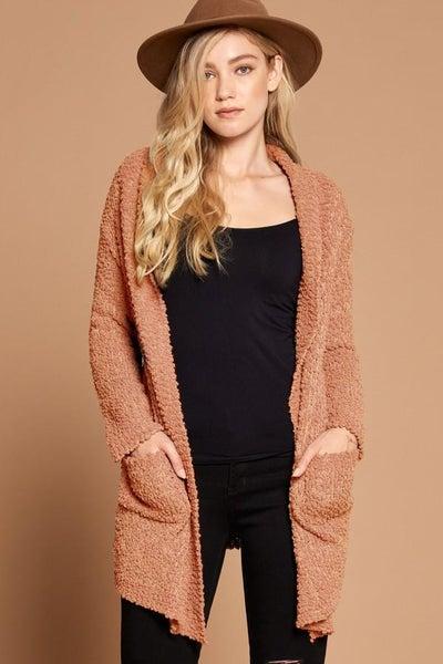 Apricot Knit Popcorn Sweater