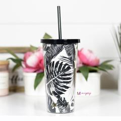 Black and White Tumbler with Straw
