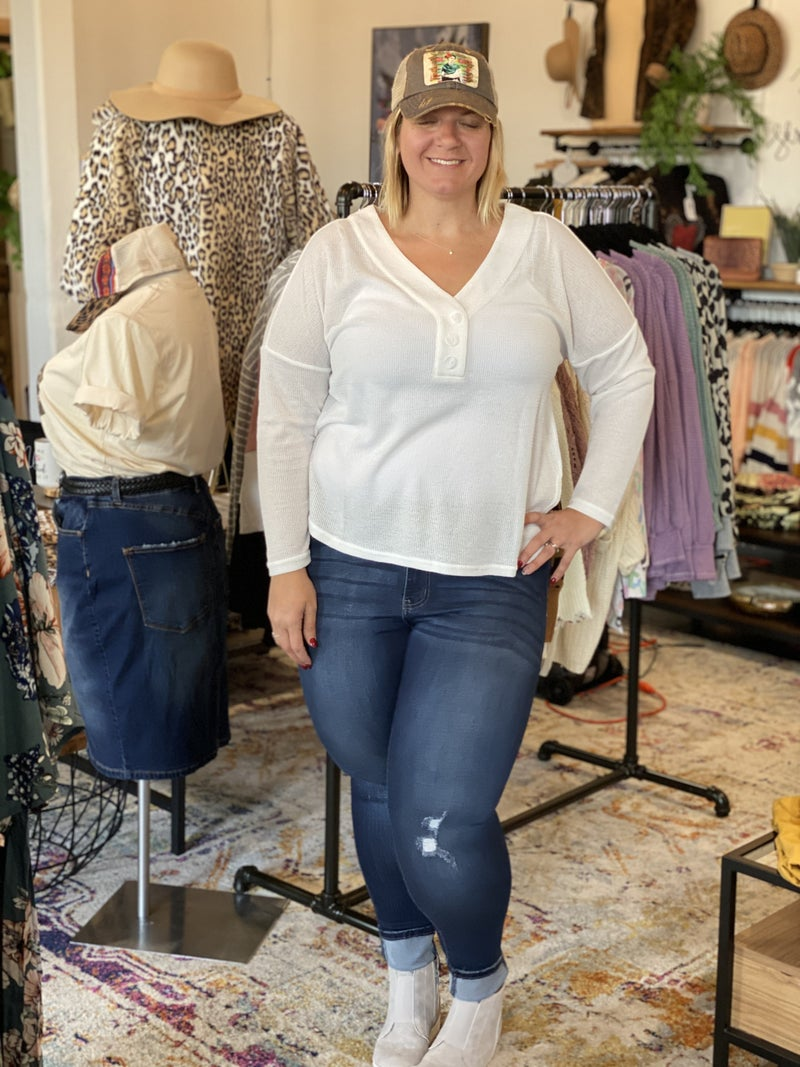 Simple Button Vneck Waffle Top