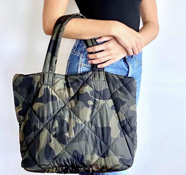 clara camo puff work bag