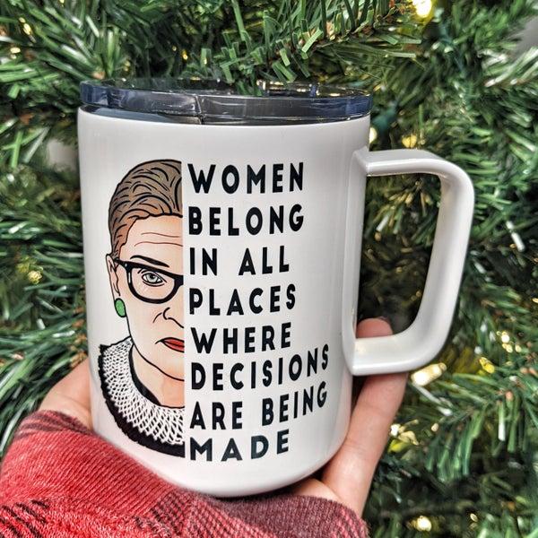 woman belong tin mug