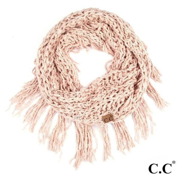 blush infinity tassel scarf
