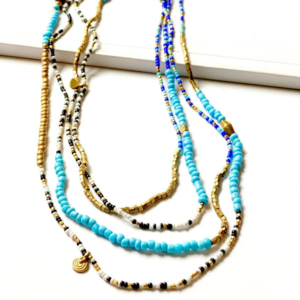 boho layer beaded necklace  (turq) *Final Sale*
