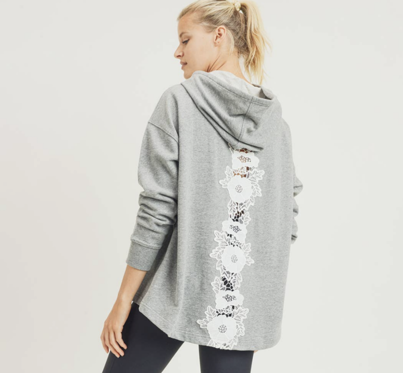 lace back sweatshirt {s/m}