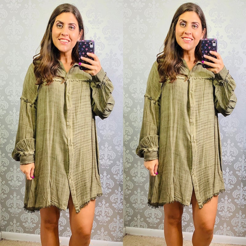 Button Down Collared Dress with Fray Detail