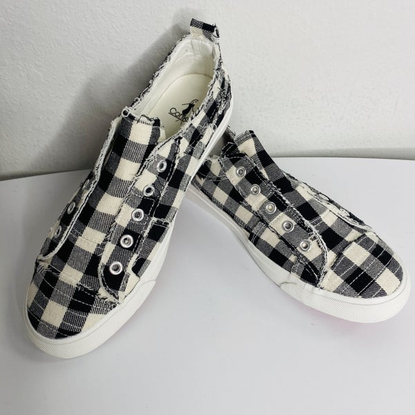 White Plaid Babalu Shoes