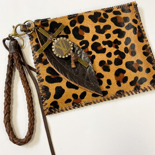 LV Cheetah Wristlet with Leaf and Cross