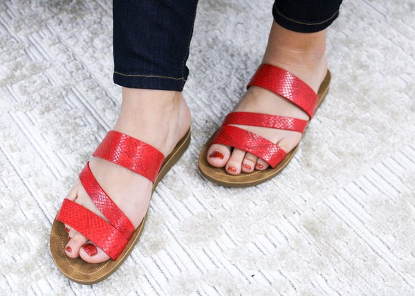 Red Snake Lydia Sandals