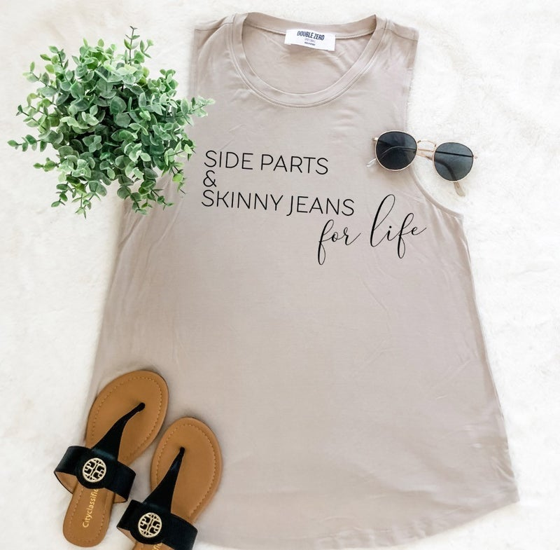 Side Parts & Skinny Jeans Graphic Tank