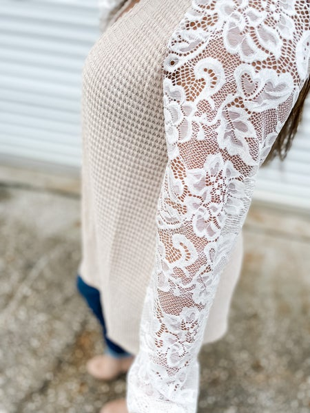 All In The Details Stone Lace Cardigan