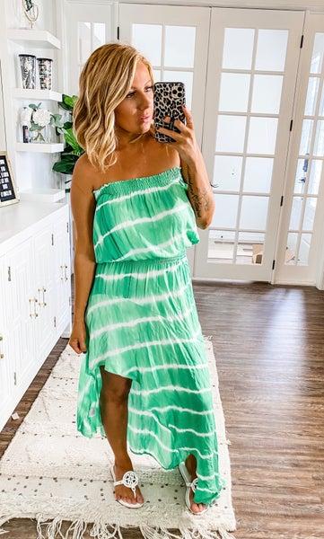 Outspoken Beauty Green Tie Dye Maxi Dress