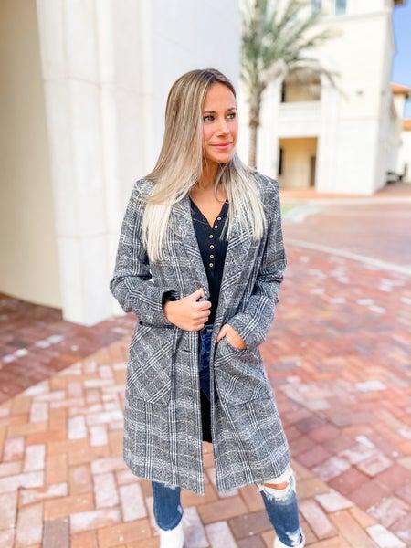Heartbreaker Grey Plaid Overcoat