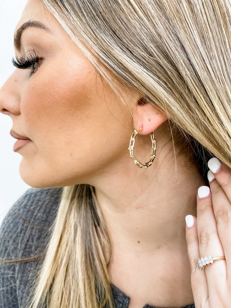 Chain Link Gold Hoops