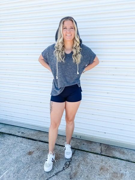 Running Hot High Waist Black Active Shorts