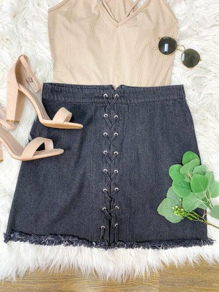 Keep You Around Black Denim Lace Up Skirt