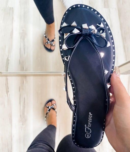 Black Studded Bow Sandal