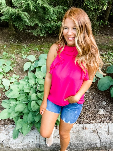 Frilled To Be Here Fuchsia Ruffle Top