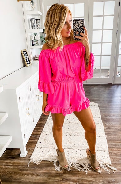 Sweet And Simple Hot Pink Ruffled Romper