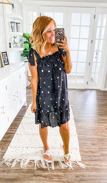 Humor Me Black Polka Dot Dress