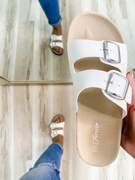 White 2-Strap Silver Buckle Sandal