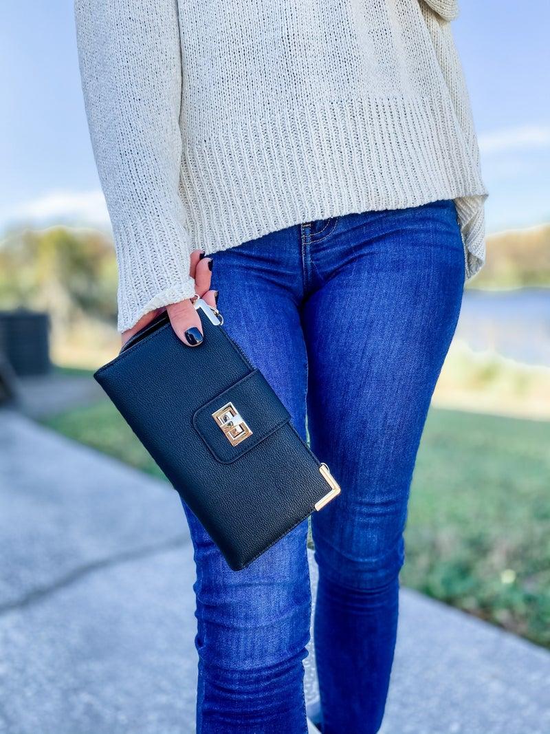 Black Bi-fold Crossbody Wallet