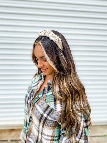 Scrunched Vegan Leather Headband